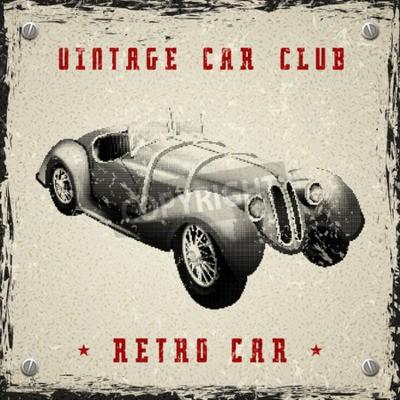 Affisch vintage bil affischdesign med pixelutskrifts halvton prick textur