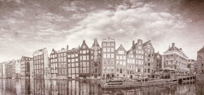Affisch Vintage bild av Amsterdam byggnader