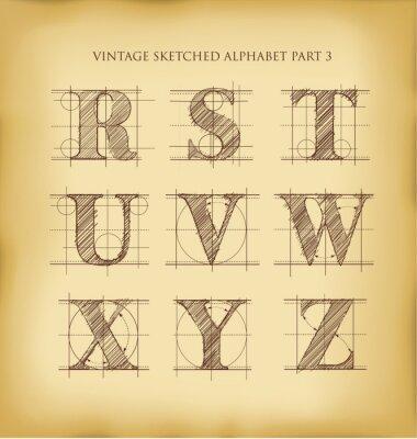 Affisch Vintage handritad alfabetet