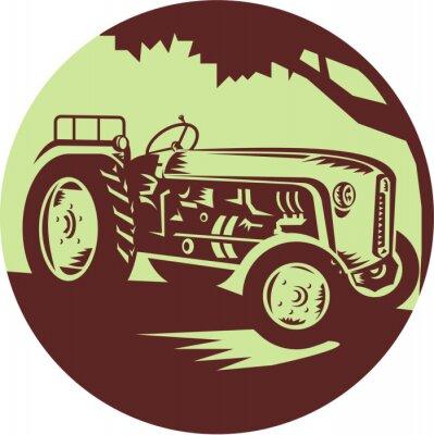 Affisch Vintage Jordbrukstraktor Circle träsnitt