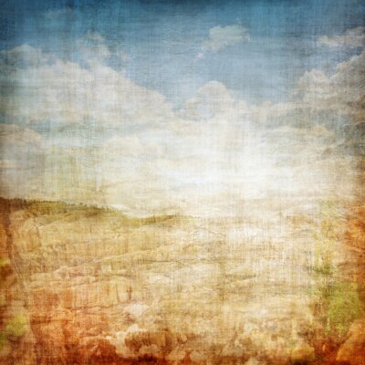 Affisch Vintage Landskap tyg bakgrund