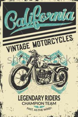 Affisch Vintage motorcycle placard with motorbike. Vector illustration.