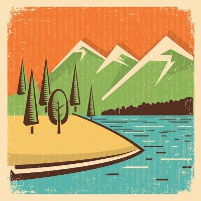 Affisch Vintage Nature berg landskap