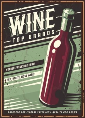 Affisch Vintage poster of a bottle of wine. Overlay vector texture. Minimalism old banner, vector image.