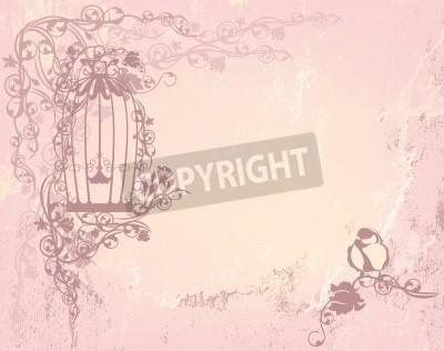 Affisch vintage rosenträdgård med öppen bur och fågel - shabby chic frihet koncept bakgrund med plats för din text