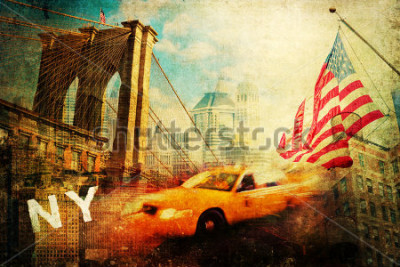 Affisch vintage style collage of New York city symbols