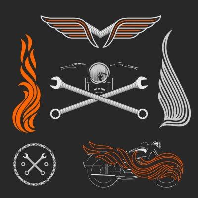 Affisch Vintage vektor motorcykel logotyper, emblem, mallar, etiketter, symboler och motorcykeldesignelement.