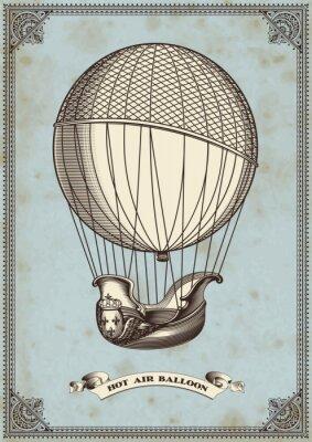 Affisch vintagekort med luftballong