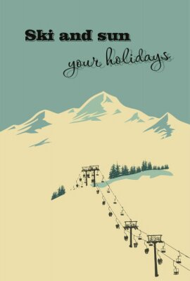 Affisch Vinter bakgrund. Bergslandskap med skidlift
