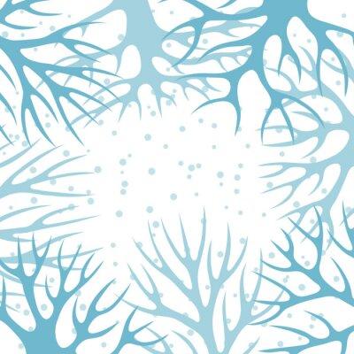 Affisch Vinter bakgrund design med abstrakta stiliserade träd