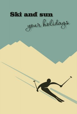 Affisch Vinter bakgrund. Skidåkare glider från berget.