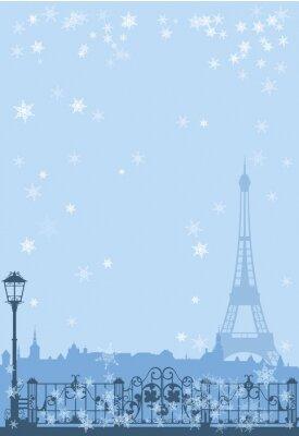 Affisch vinter Paris bakgrund