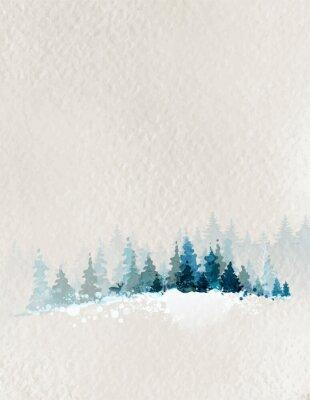 Affisch vinterlandskap med gran skog och rådjur