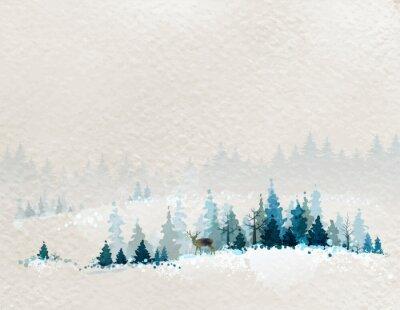 Affisch vinterlandskap med gran skogar och rådjur