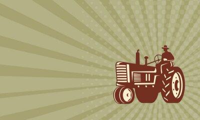 Affisch Visitkort Farmer Driving Vintage Tractor Retro