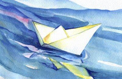 Affisch Vita papper fartyget seglar på vågorna. Vattenfärgmålning av fartyget och havsvatten.