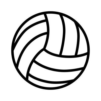 Affisch Volleyboll boll linje art ikon för sport appar och webbplatser