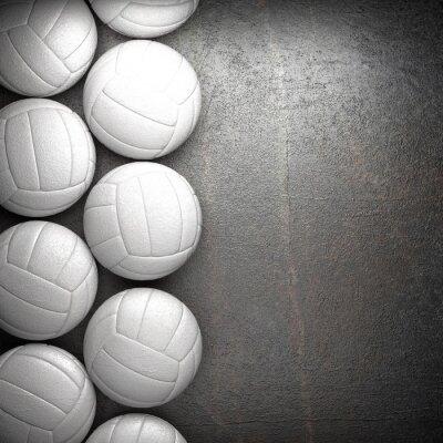 Affisch Volleyboll boll och metall vägg bakgrund