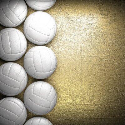 Affisch Volleyboll bollen och gyllene vägg bakgrund