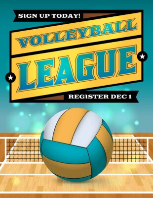 Affisch Volleyboll League Flyer Illustration