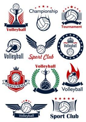 Affisch Volleyboll spel ikoner, emblem och symboler