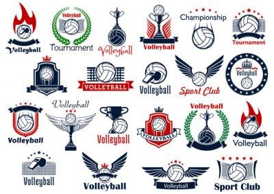 Affisch Volleyboll sport spel ikoner och symboler