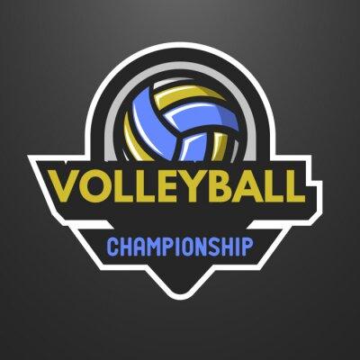 Affisch Volleyboll sportlogo, etikett, emblem.