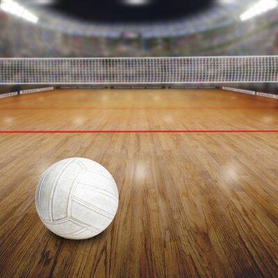 Affisch Volleybollplan med boll på trägolv och Textutrymme