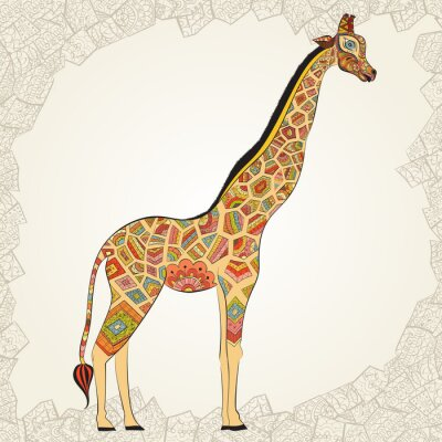 Affisch Vuxen härlig giraff i boho. Handritad illustration av prydnads giraff. Färgade giraff på prydnads bakgrund.