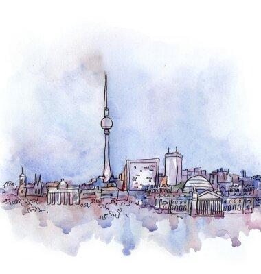 Affisch vyn Berlin vattenfärg av EU-land isolerad på den vita bakgrunden