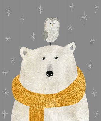 Affisch watercolor and pencil drawing of a polar bear with an owl on his head. Christmas illustration