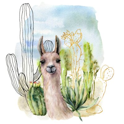 Affisch Watercolor and sketch desert landscapes card with lama. Hand painted golden and black mexican cactus, sky and clouds. Botanical illustration isolated on white background for design, print, fabric.