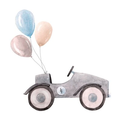 Affisch Watercolor baby car illustration