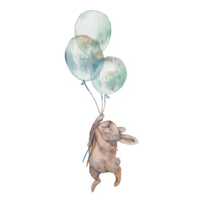 Affisch Watercolor bunny with air balloons illustration. Hand painted rabbit fly. Cute animal isolated on white background. Cartoon hare in boho chic style