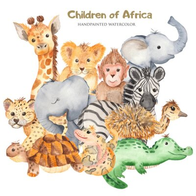 Affisch Watercolor card with cute characters of African animals. Template for invitation, greeting card, party, baby shower, children's clothing and design.
