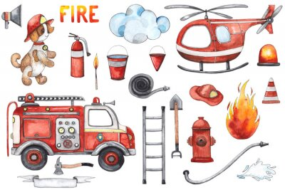 Affisch Watercolor cartoon cute set Firefighting and fire safety equipment illustration. Fire truck, helicopter, dog, helmet, hose, column, fire extinguisher. Baby shower red colorful clip art