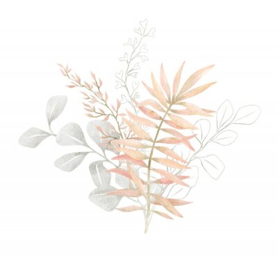 Affisch Watercolor composition with plants and leaves in pastel pink color. Aesthetic gently bouquet in boho style with palm leaf, eucalyptus, foliage, nature element. Illustration for wedding, business card.
