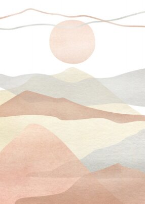 Affisch Watercolor creative minimalist hand painted landscape composition, mountains. Abstract modern print, poster, for wall decoration, card or brochure cover design. Aesthetic trendy illustration