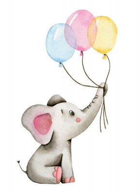 Affisch Watercolor cute elephant holds the trunk of multi-colored balloons isolated on white background.