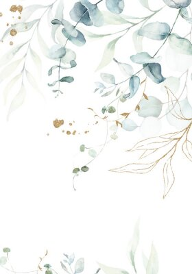 Affisch Watercolor floral illustration with gold branches - green leaf frame / border, for wedding stationary, greetings, wallpapers, fashion, background. Eucalyptus, olive, green leaves, etc.
