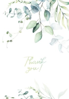 Affisch Watercolor floral illustration with green branches & leaves - frame / border, for wedding stationary, greetings, wallpapers, fashion, background. Eucalyptus, olive, green leaves, etc.