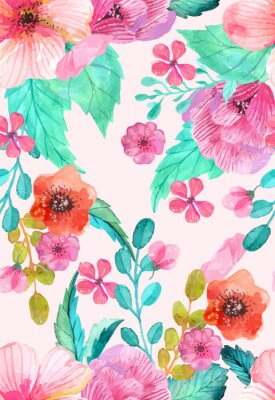 Affisch Watercolor floral seamless pattern