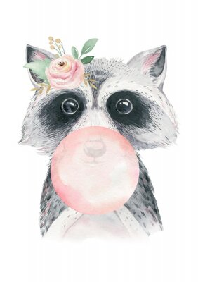 Affisch Watercolor forest cartoon isolated cute baby raccoon, animal with flowers. Nursery woodland illustration. Bohemian boho drawing for nursery poster, pattern