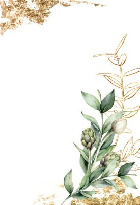 Affisch Watercolor golden card with linear branch and artichoke. Hand painted holiday card with green eucalyptus leaves and bud on white background. Spring illustration for design, print, fabric, background.