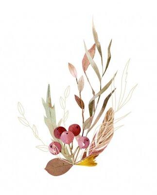 Affisch Watercolor hand painted composition - arrangement, bouquet. Soft gentle color palette.