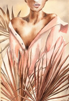 Affisch Watercolor illustration.  Beautiful woman or girl in a shirt with dry palm leaves.  African American, African.  Design for cards, paper, weddings, invitations, scrapbooking, poster, invitations