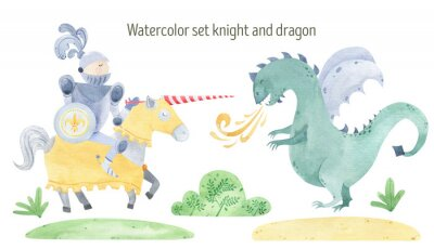 Affisch Watercolor knight and dragon duel