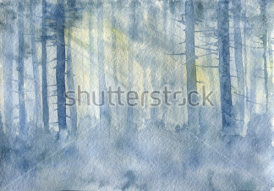Affisch watercolor landscape with mist and trees trunks, cobweb morning, fog in a forest, hand drawn illustration, nature background