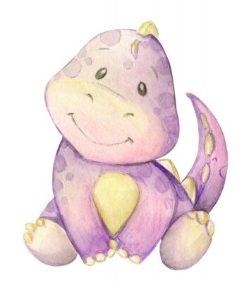 Affisch watercolor,  little dinosaur. pink. isolated