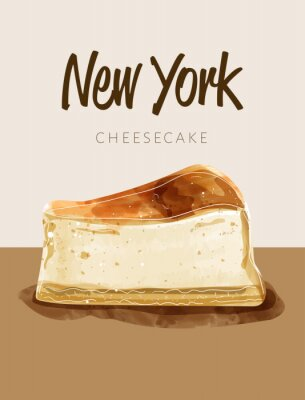 Affisch Watercolor paining in retro style of new york cheesecake.  Design for printing, postcard, menu, and others. Vector illustration.